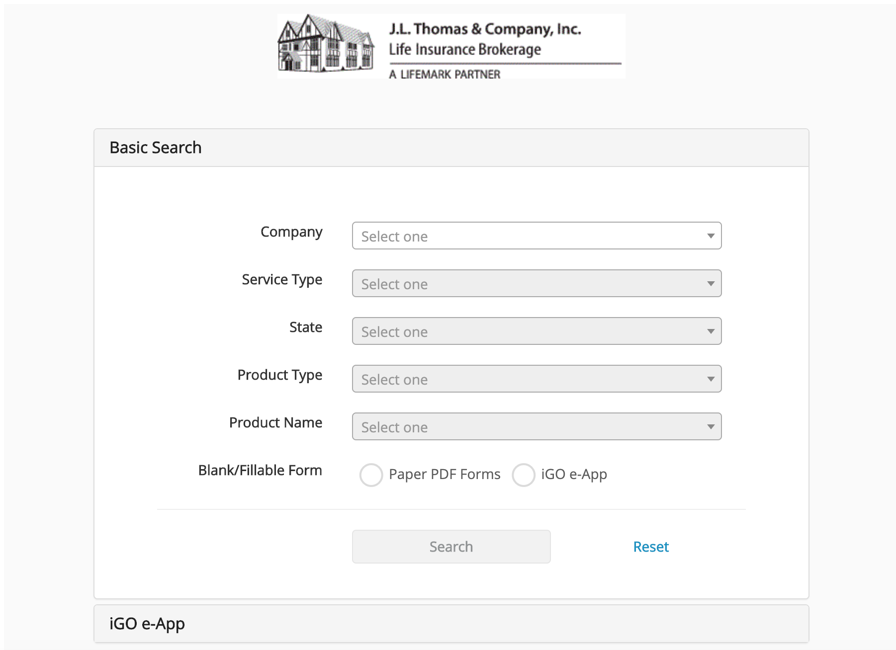 Image of form engine used by insurance professionals to download forms for various insurance companies for life insurance, long term care insurance, disability insurance and annuities.