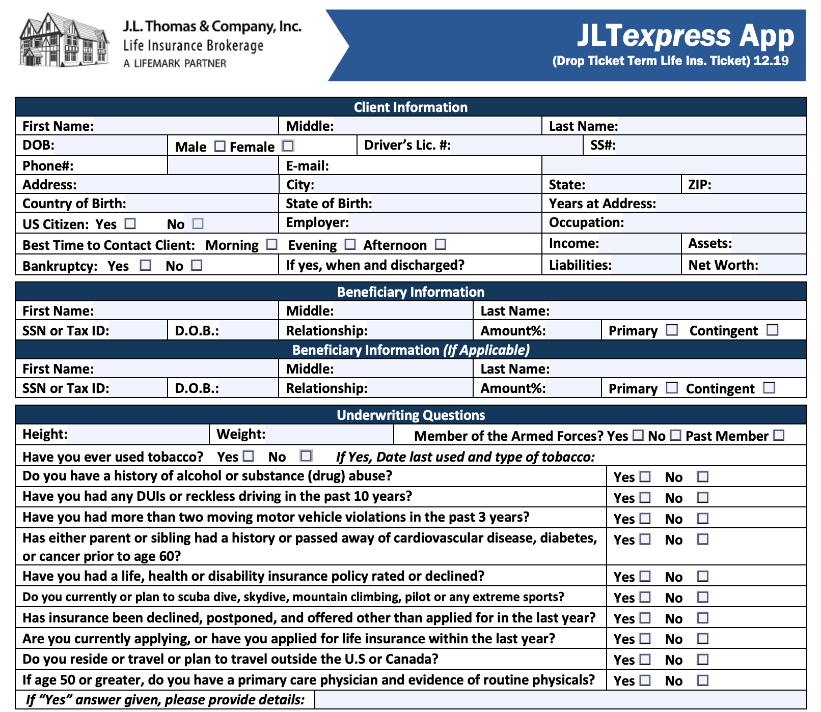 Image of JLTexpress app is a 2 page abbreviated application used to apply for term life insurance.